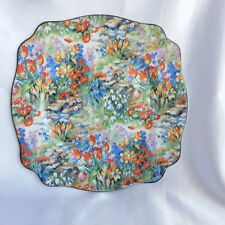 🌟 VINTAGE ALL OVER FLORAL ART DECO PLATE AJ WILKINSON ORANGE BLUE WHITE YELLOW