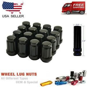 20PCS BLACK SPLINE TUNER LUG NUTS 12X1.5 +ANTITHEFT KEY [FITS HONDA]
