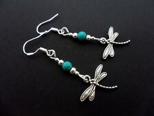 A PAIR OF TIBETAN SILVER DRAGONFLY EARRINGS WITH 925 SOLID SILVER HOOKS. NEW..