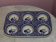 Genuine UNIKAT Signed Polish Pottery Muffin Pan! Rembrandt in Blue Pattern!