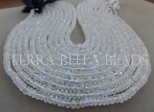 "10"" strand RAINBOW MOONSTONE faceted gem stone rondelle beads 3mm - 5mm"