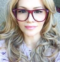 Classic Satin Matte Square Frames Clear Lens Wayfe Big Fashion Eyeglasses 1390