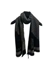 NEW VERSACE Brown & Black Men's Logo MEDUSA Soft Wool Scarf NWT