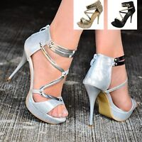 Ladies Strappy Platform Sandals Heeled Gladiator Stiletto Shoes for Women Size