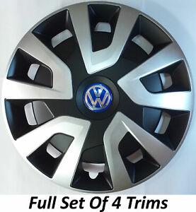"VW CRAFTER 16"" INCH BLACK & SILVER DEEP DISH VAN CAMPER MINIBUS WHEEL TRIMS"