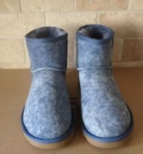 UGG LIGHT DENIM CLASSIC MINI STUDDED BLING SHEEPSKIN BOOTS, US 8/ EUR 39 ~NIB