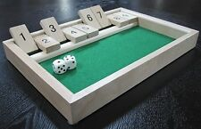 Shut the Box Board Game Set Wooden 9 Number Bar Drinking Games Dice LIGHT WOOD