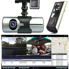 HD Car DVR Dual Camera Lens Dash Cam GPS Logger Google Map G-Sensor Time Stamp