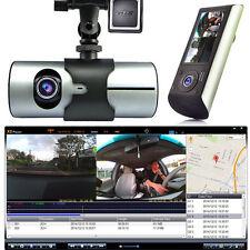 HD Car DVR Dual Camera Lens Dash Cam GPS Logger Google Map G-Sensor Time Stamp