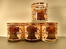 Vintage Gold Rim Bicentennial 1776-1976 Whiskey Glasses Window Picture On Inside