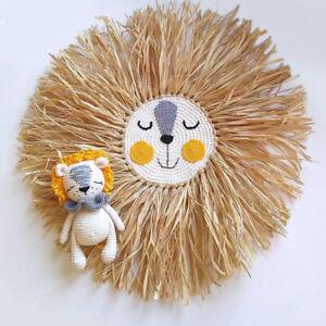Kids Room Cute Lion Tapestry Handmade Knitting Tassel Hanging Wall Nursery Decor