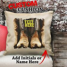 Personalised Cowboy Boots Vintage Cushion Custom Canvas Cover Gift NC170