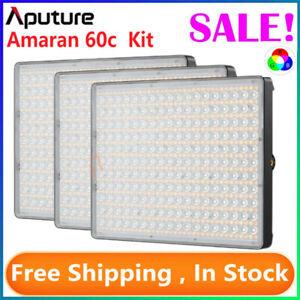Aputure Amaran P60c 3-Light Kit RGBWW LED Studio Video Light Panel 2500K-7500K