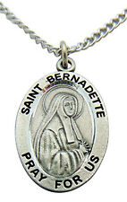 Westman Works St Bernadette Solid Pewter Saint Medal 3/4 Inch with Stainless Ste