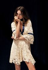 New Free People Gilded Lace Mini Dress Ivory Size S $128
