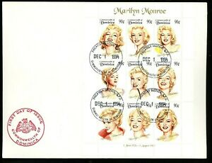 Postal History Oversized FDC 1745 Dominica 1994 Marilyn Monroe Actress Hollywood