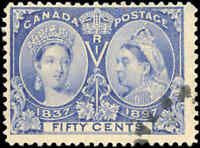 1897 Used Canada 50c F Scott #60 Diamond Jubilee Stamp