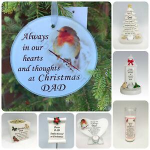 Dad Christmas Memorial Tributes - Xmas Tree Robin Bauble Candle Book Plaque