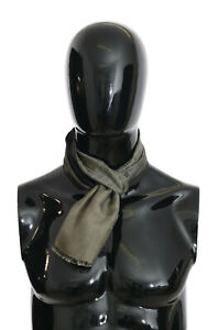 DOLCE & GABBANA Scarf Green Baroque Fringes Silk Mens Wrap 130cm x 15cm RRP $320