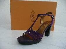 Tods Tod S Gr 36 Platform T-Strap Ankle-Strap Sandal Shoes Purple New Previously