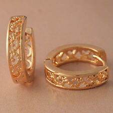 Vintage 9K Real Gold Filled Openwork Womens Hoop Earrings F4829