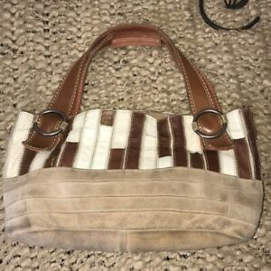 Fossil Brown Suede Large Purse Satchel Tan Patches What Vintage Are You