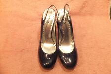 "BCBG PARIS  Metallic Blue Patent Leather Womens 4.25""Heels Size 9M Quite Good"