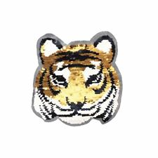 Reversible Double Sequin Tiger L (Sew On) Embroidery Applique Patch Sew Badge