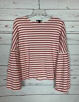 J.Crew Women's S Small Red Striped Long Sleeve Cute Valentines Top Blouse Shirt