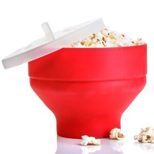 100% BPA Free Kitchen Microwave Snips Popcorn Making Collapsible Silicone Bowl