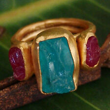 Sterling Silver Rough Appetite W/ Ruby Ring By Omer 24k Yellow Gold Vermeil