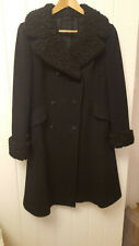 Ladies black vintage coat with astrachan cuffs size 10/12