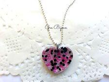 Collana resina cuore heart cristallini all'interno nero viola fucsia handamde