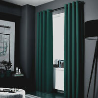 "1 HUNTER GREEN PANEL ROOM DARKENING 99% BLACKOUT GROMMET WINDOW CURTAIN K34 108"""