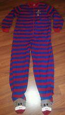 Nick & Nora Sock Monkey Footed Pajama Red Blue Stripe Size M