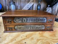 VINTAGE JP COATS 2 DRAWER ANTIQUE COUNTRY STORE COUNTER TOP SPOOL CABINET
