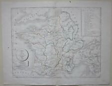 1822 CARTE DE L'A GAULE Selves litografia map Gallia Gaul Francia France