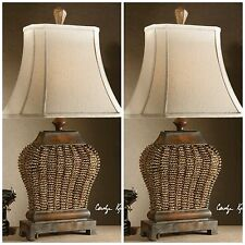 TWO STYLISH RATTAN WEAVE & METAL TABLE LAMPS AGED FINISH LOOK READING DESK LIGHT