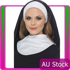 Womens Nun's Kit Headpiece Collar Saints Sinners Church Sister Nuns Fancy Dress