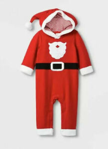 Cat & Jack Baby 1 Piece Christmas Red Santa Claus Outfit with Hoodie New