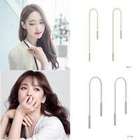 Fashion Womens Long Dangle Drop Chain Hook Threader Earrings Ear Stud Jewelry