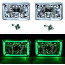 4X6 Green LED Halo Angel Eye Halogen H4 Headlights Crystal Clear Headlamp Bulbs