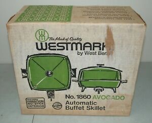 """New!! NOS!! Vtg 1970's WEST BEND 11"""" Electric AUTOMATIC BUFFET SKILLET Pan #1860"""