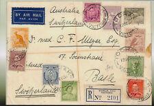 1938 Multi-Stamp Air Mail Australia to Switzerland  ----> A6 Postcard Size PRINT