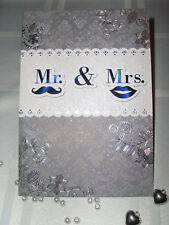 Glückwunschkarte Hochzeit Elegant Weiß-Silber Perlen 3D Prägedruck Glitzer