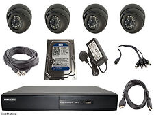 Hikvision 4 Channel Turbo HD-TVI Hybrid DVR With 1TB & 4 Cameras & Install Kit