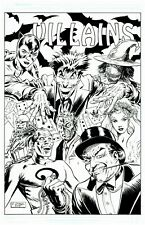the Joker Catwoman Two Face Original Comic Art Sketch Drawing by Josh George