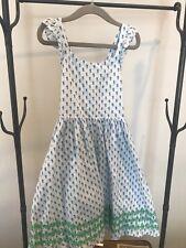 mini boden girls blue block print dress 7-8yr