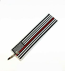 American Flag Keychain Tag with Key Ring with Red Line( Firefighter theme)