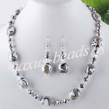 Grey Crystal Lampowrk Glass Oval Beads Gem Necklace Earrings Jewelry MM324